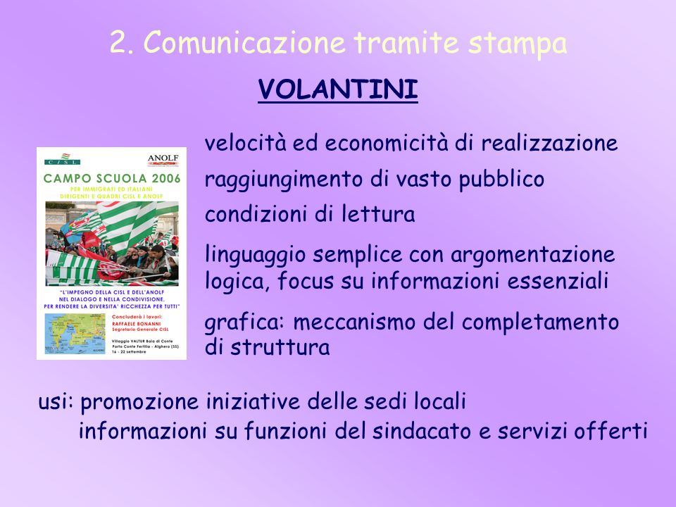 2. Comunicazione tramite stampa