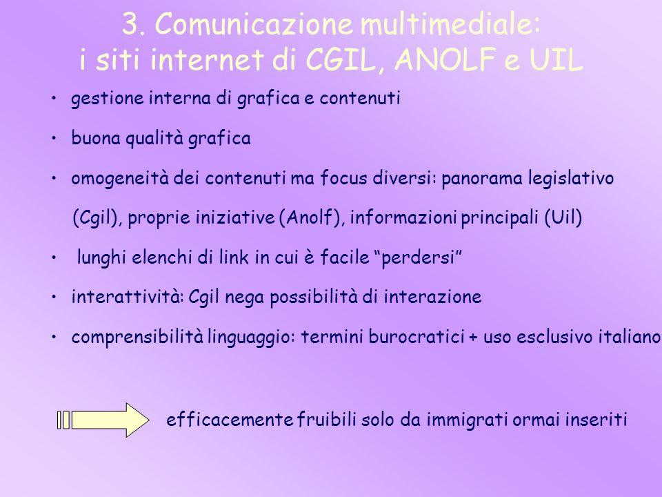 3. Comunicazione multimediale: i siti internet di CGIL, ANOLF e UIL