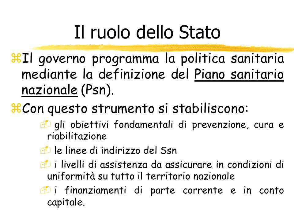 Il ruolo dello Stato Il governo programma la politica sanitaria mediante la definizione del Piano sanitario nazionale (Psn).