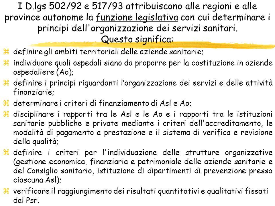 I D.lgs 502/92 e 517/93 attribuiscono alle regioni e alle province autonome la funzione legislativa con cui determinare i principi dell organizzazione dei servizi sanitari. Questo significa:
