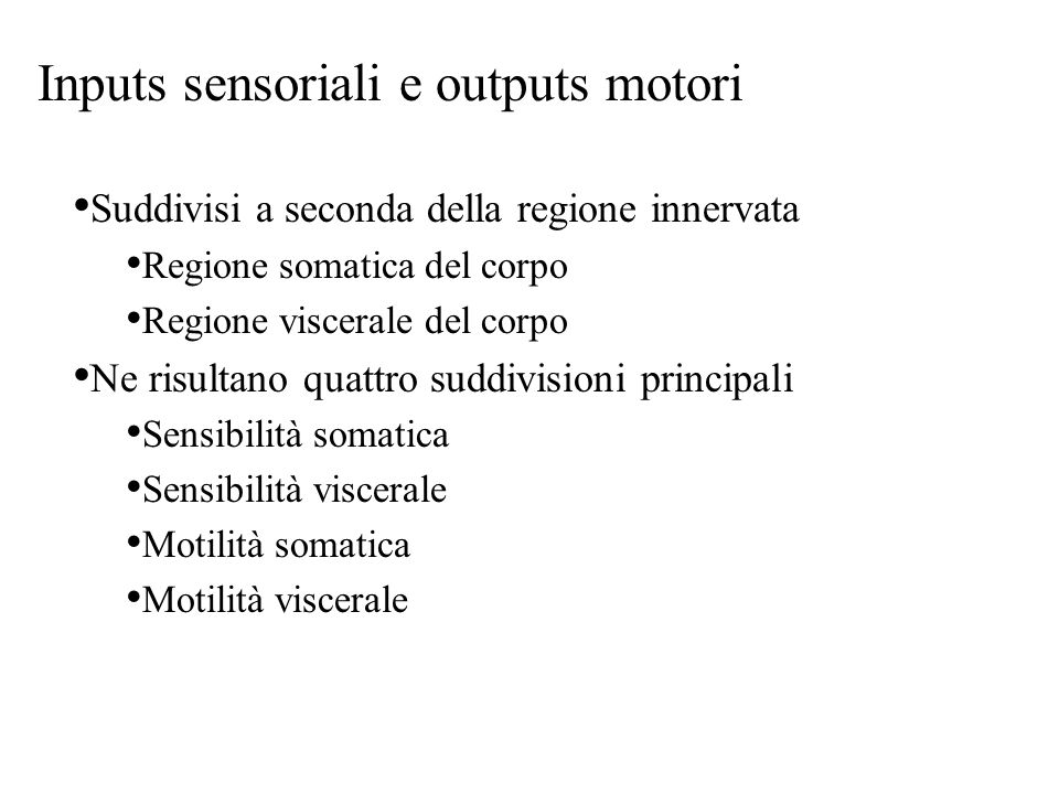 Inputs sensoriali e outputs motori