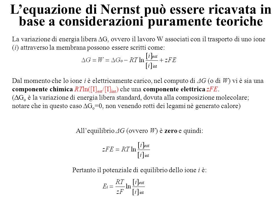 L'equazione di Nernst può essere ricavata in base a considerazioni puramente teoriche