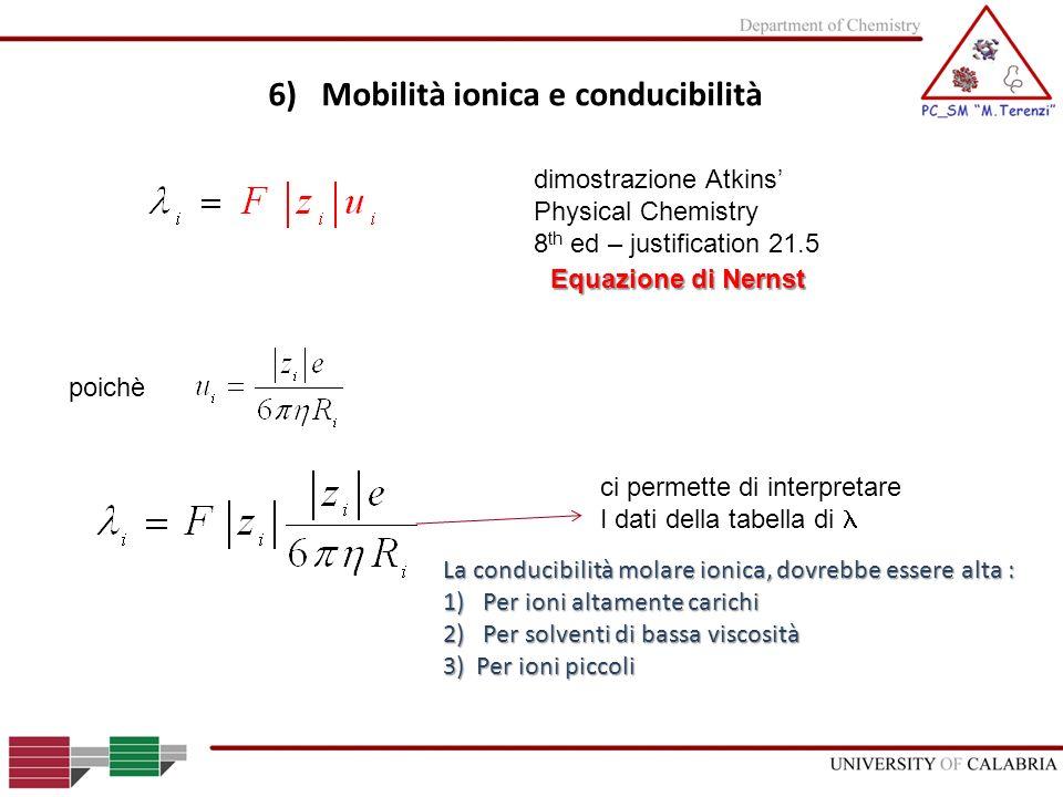 6) Mobilità ionica e conducibilità
