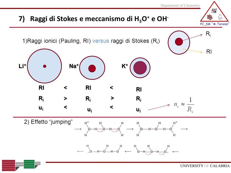 7) Raggi di Stokes e meccanismo di H3O+ e OH-