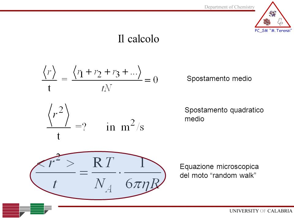 Il calcolo Spostamento medio Spostamento quadratico medio