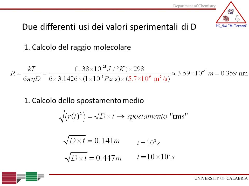 Due differenti usi dei valori sperimentali di D