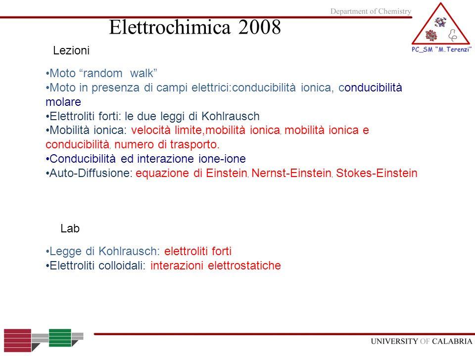 Elettrochimica 2008 Lezioni Moto random walk