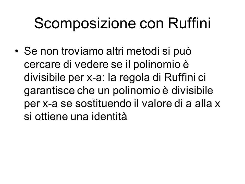 Scomposizione con Ruffini