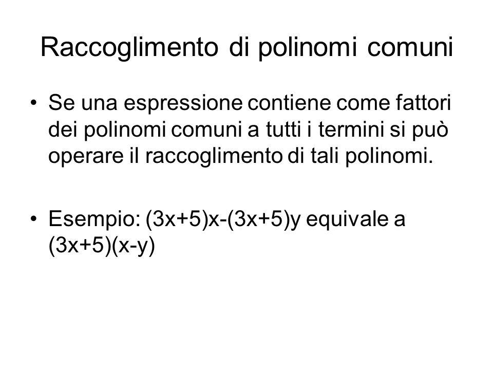 Raccoglimento di polinomi comuni