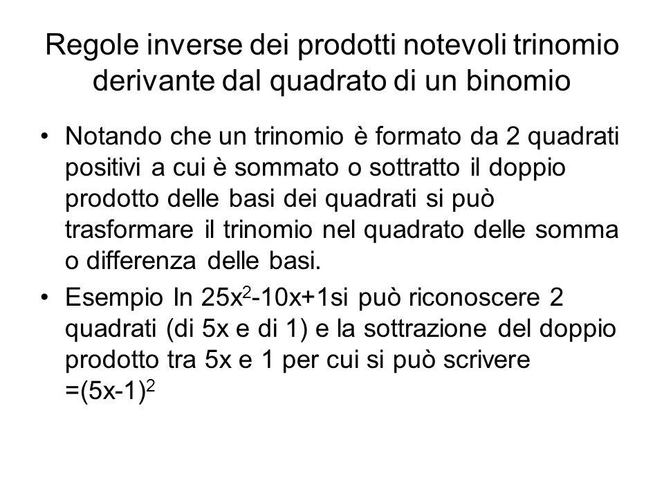 Regole inverse dei prodotti notevoli trinomio derivante dal quadrato di un binomio