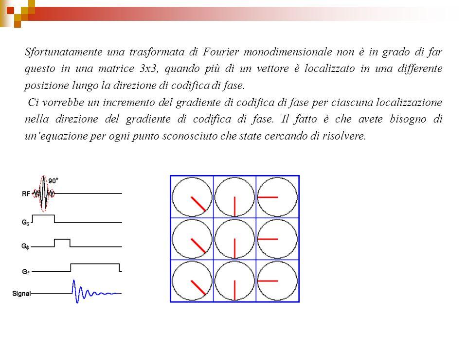 Sfortunatamente una trasformata di Fourier monodimensionale non è in grado di far questo in una matrice 3x3, quando più di un vettore è localizzato in una differente posizione lungo la direzione di codifica di fase.