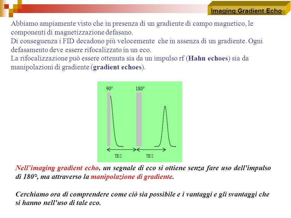 Imaging Gradient EchoAbbiamo ampiamente visto che in presenza di un gradiente di campo magnetico, le componenti di magnetizzazione defasano.