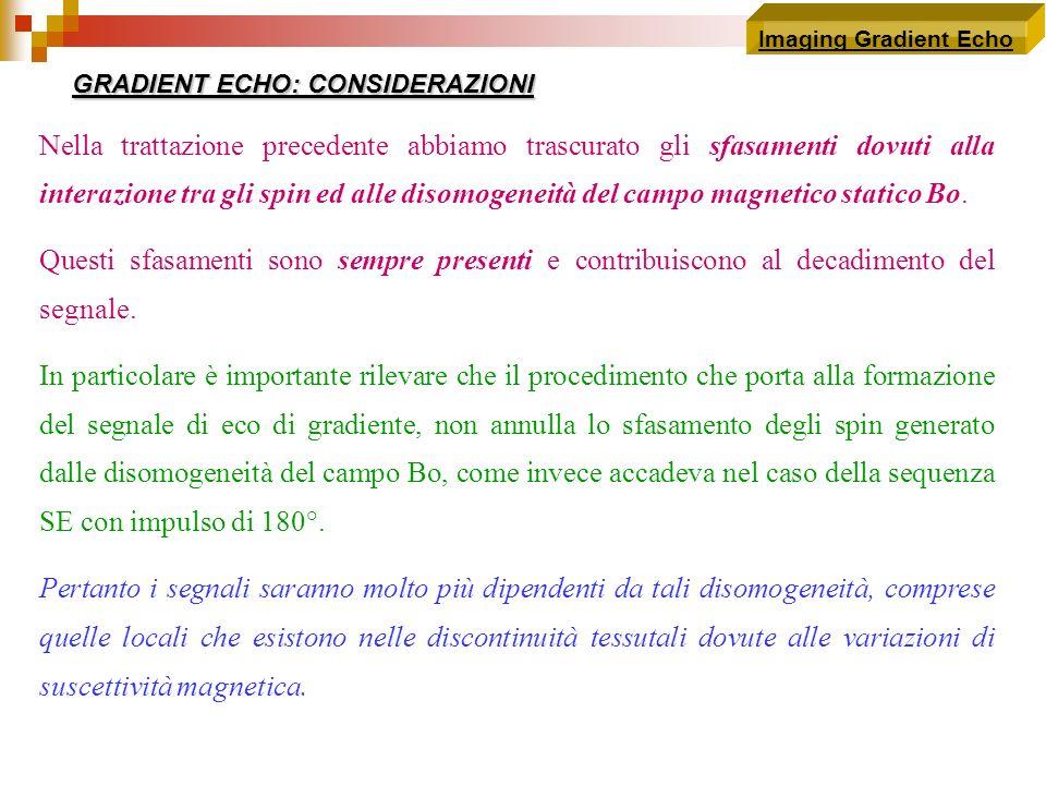 Imaging Gradient Echo GRADIENT ECHO: CONSIDERAZIONI.