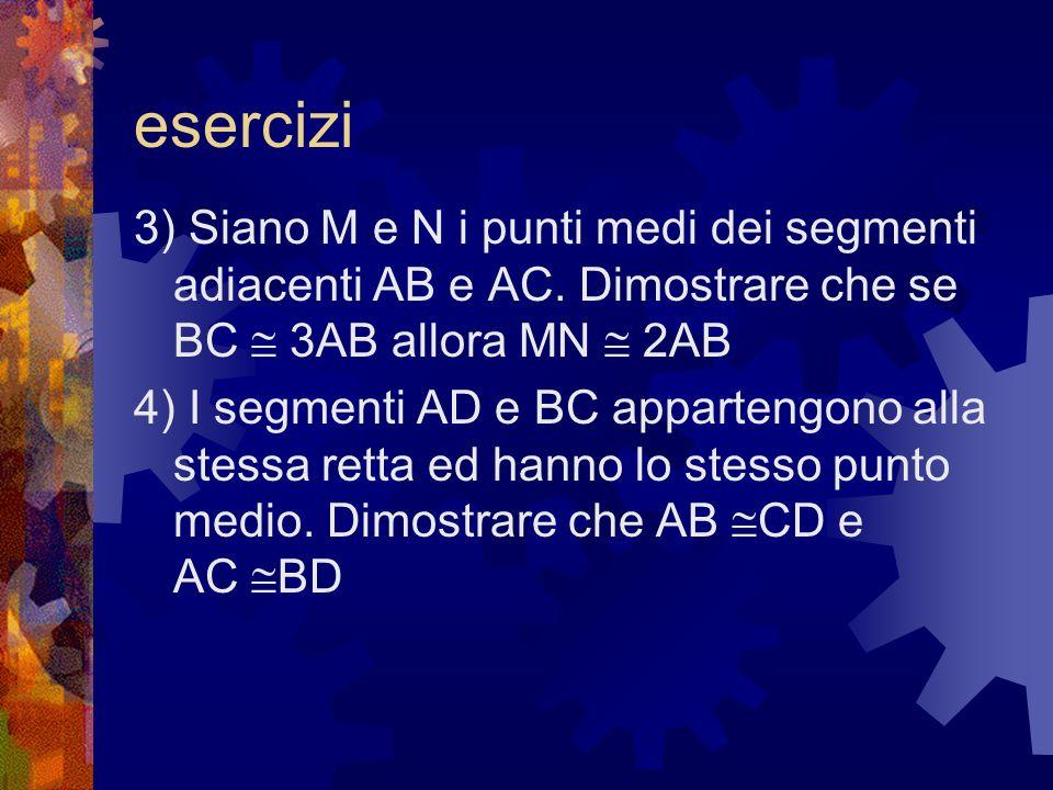 esercizi3) Siano M e N i punti medi dei segmenti adiacenti AB e AC. Dimostrare che se BC  3AB allora MN  2AB.