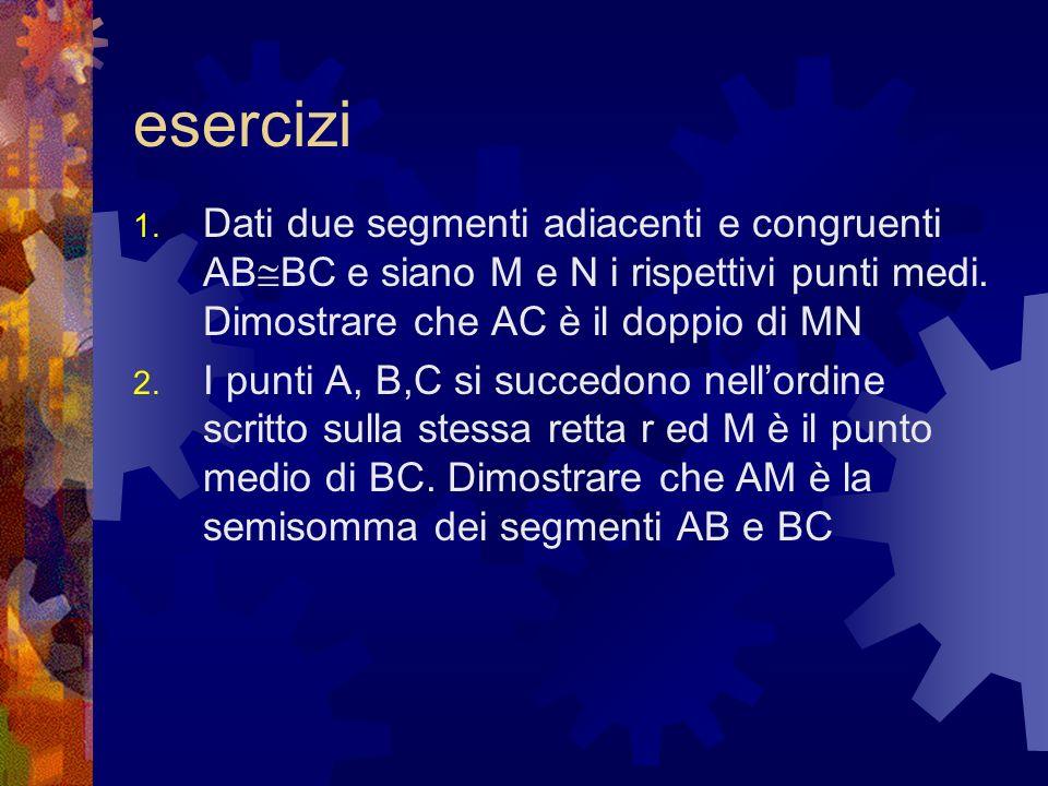 eserciziDati due segmenti adiacenti e congruenti ABBC e siano M e N i rispettivi punti medi. Dimostrare che AC è il doppio di MN.