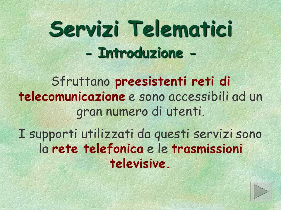 Servizi Telematici - Introduzione -