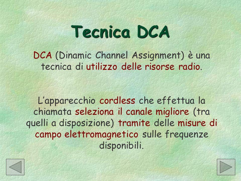 Tecnica DCA DCA (Dinamic Channel Assignment) è una tecnica di utilizzo delle risorse radio.