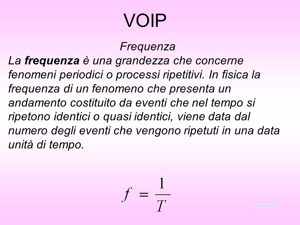 VOIP Frequenza.