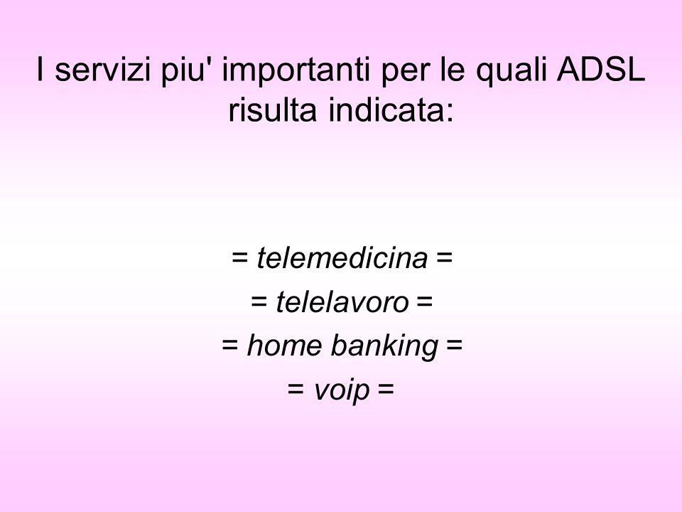 I servizi piu importanti per le quali ADSL risulta indicata: