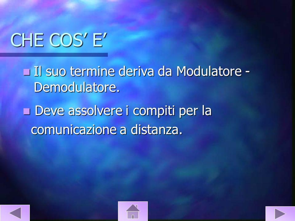 CHE COS' E' Il suo termine deriva da Modulatore - Demodulatore.