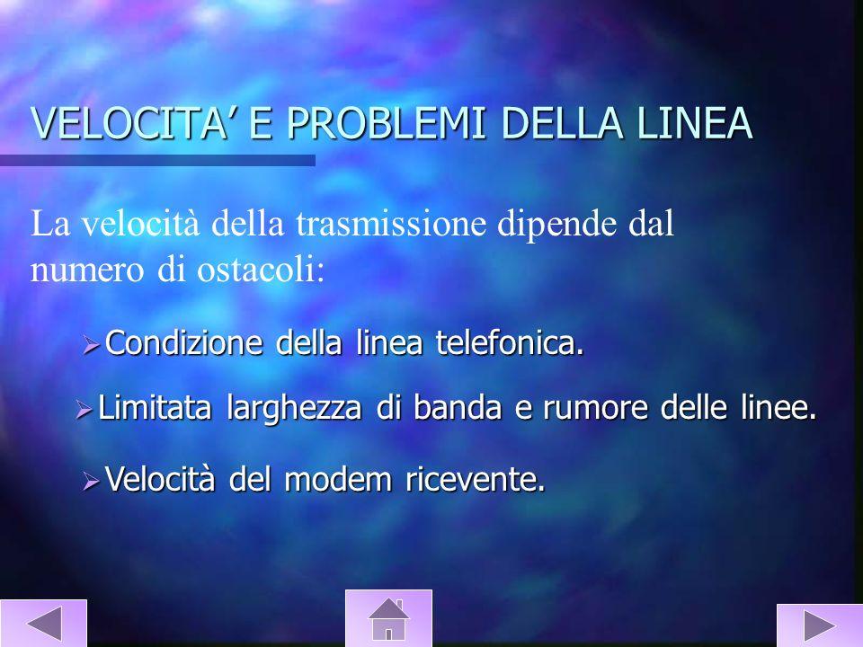VELOCITA' E PROBLEMI DELLA LINEA