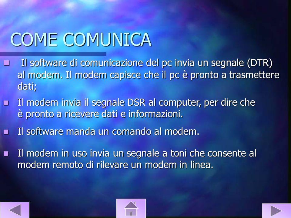 COME COMUNICA Il software di comunicazione del pc invia un segnale (DTR) al modem. Il modem capisce che il pc è pronto a trasmettere dati;