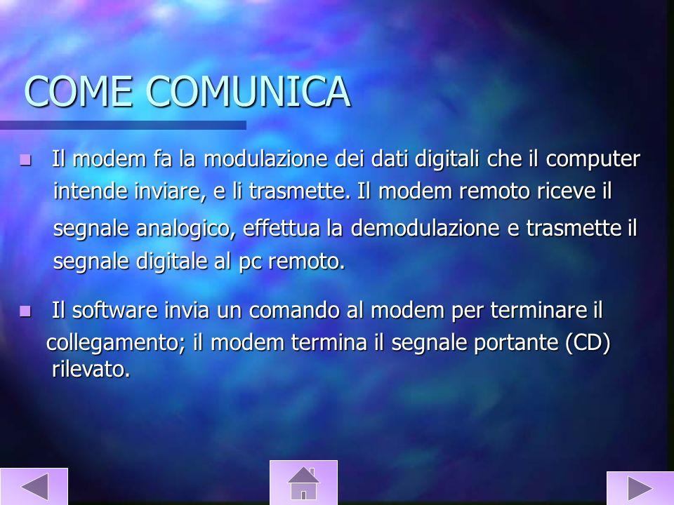 COME COMUNICA Il modem fa la modulazione dei dati digitali che il computer. intende inviare, e li trasmette. Il modem remoto riceve il.