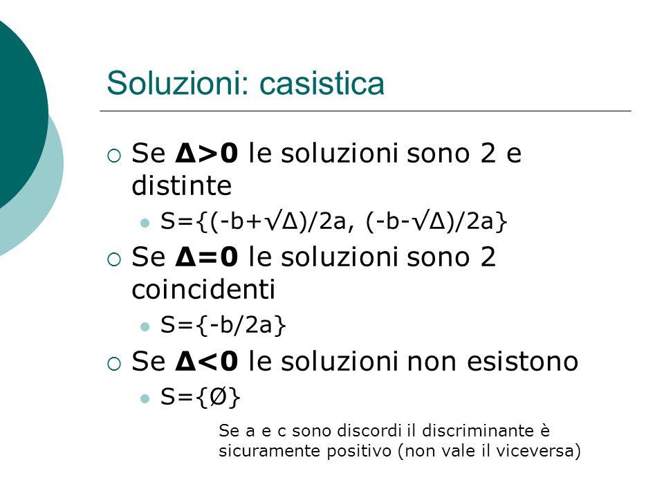 Soluzioni: casistica Se Δ>0 le soluzioni sono 2 e distinte