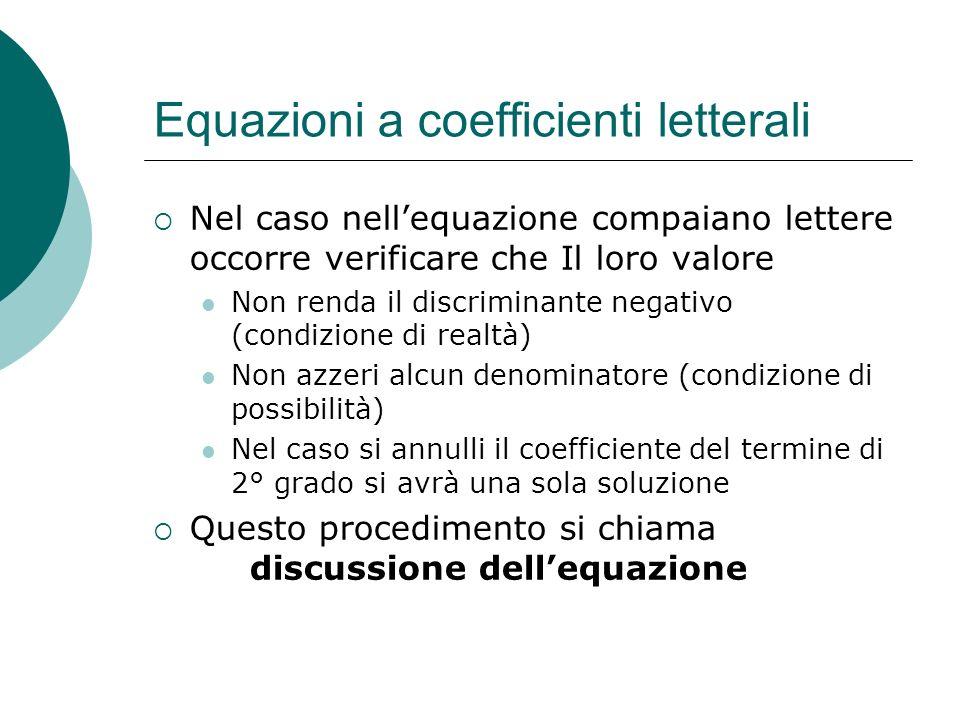 Equazioni a coefficienti letterali