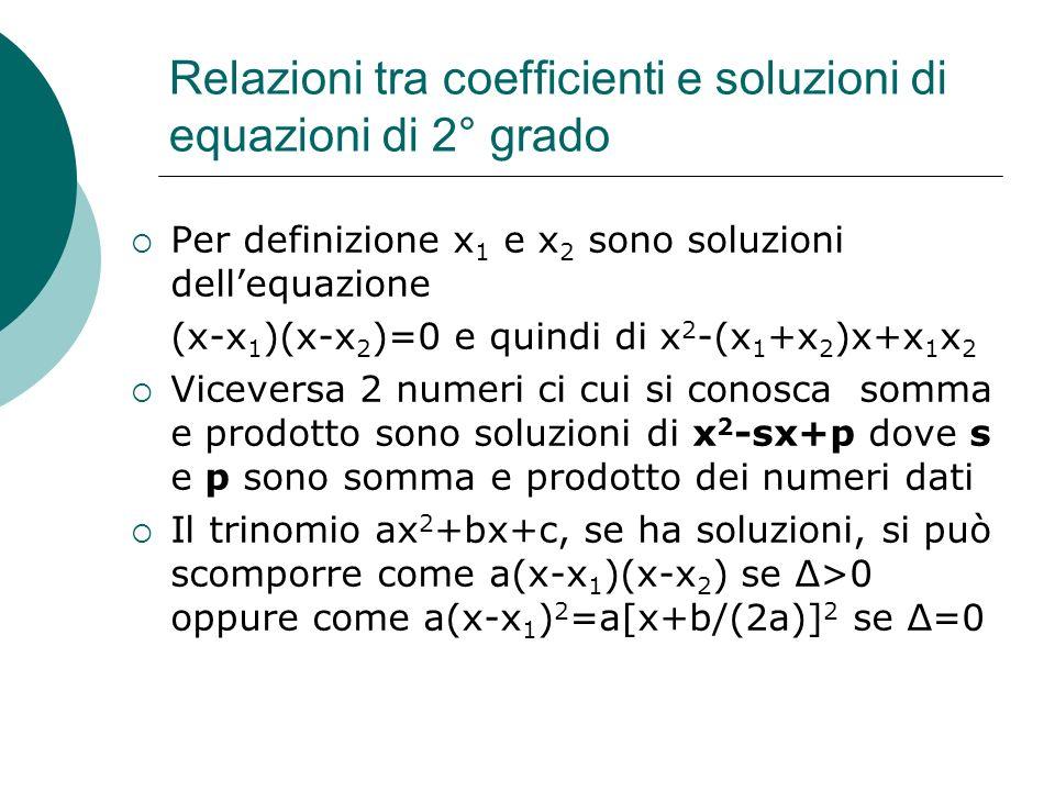 Relazioni tra coefficienti e soluzioni di equazioni di 2° grado