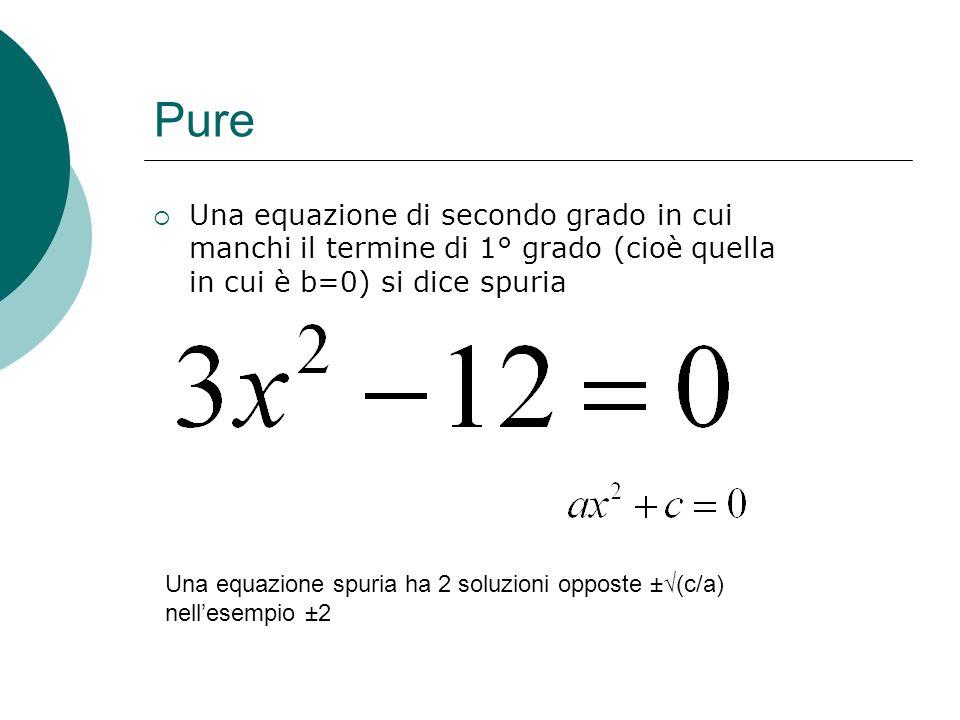 PureUna equazione di secondo grado in cui manchi il termine di 1° grado (cioè quella in cui è b=0) si dice spuria.