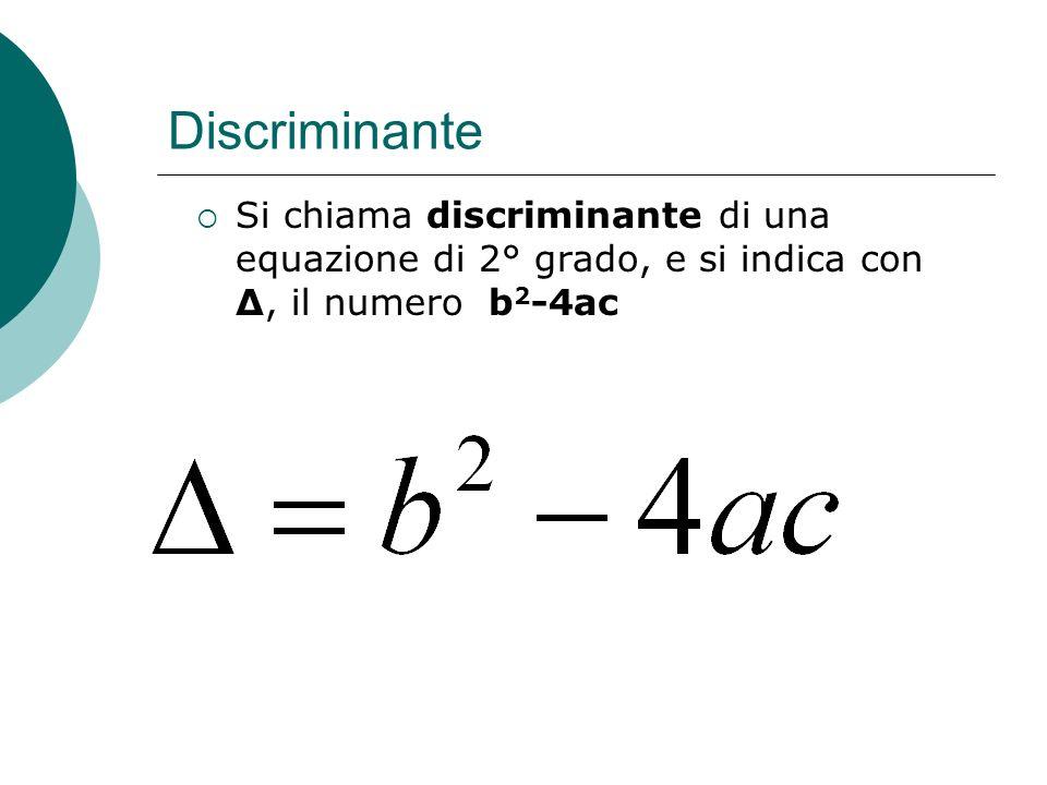 DiscriminanteSi chiama discriminante di una equazione di 2° grado, e si indica con Δ, il numero b2-4ac.