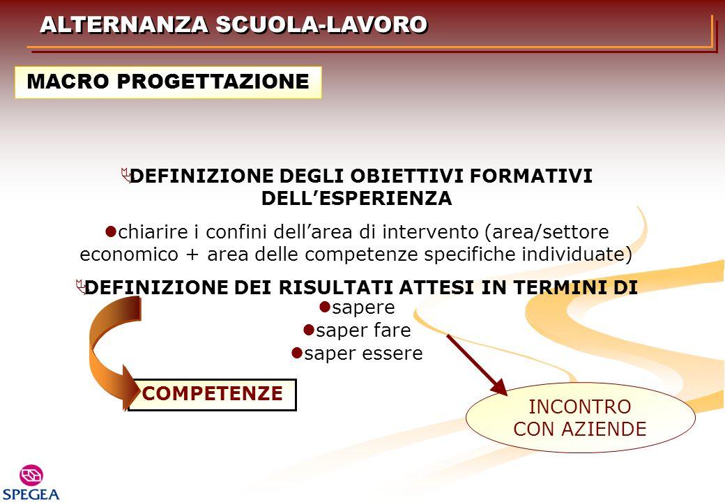 DEFINIZIONE DEGLI OBIETTIVI FORMATIVI DELL'ESPERIENZA