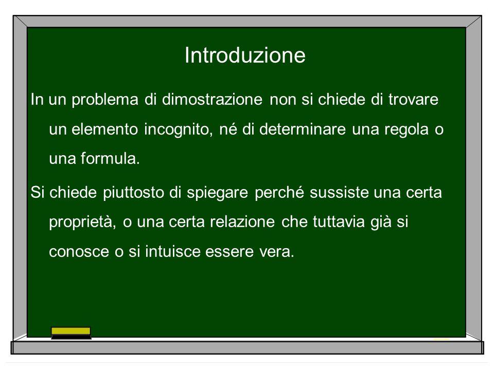 IntroduzioneIn un problema di dimostrazione non si chiede di trovare un elemento incognito, né di determinare una regola o una formula.