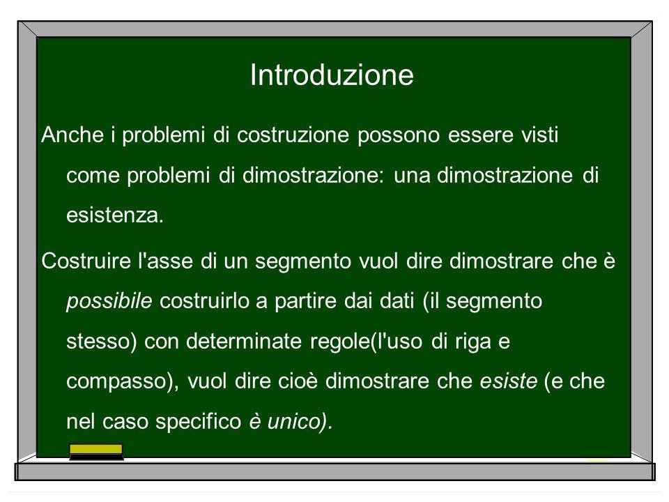 IntroduzioneAnche i problemi di costruzione possono essere visti come problemi di dimostrazione: una dimostrazione di esistenza.