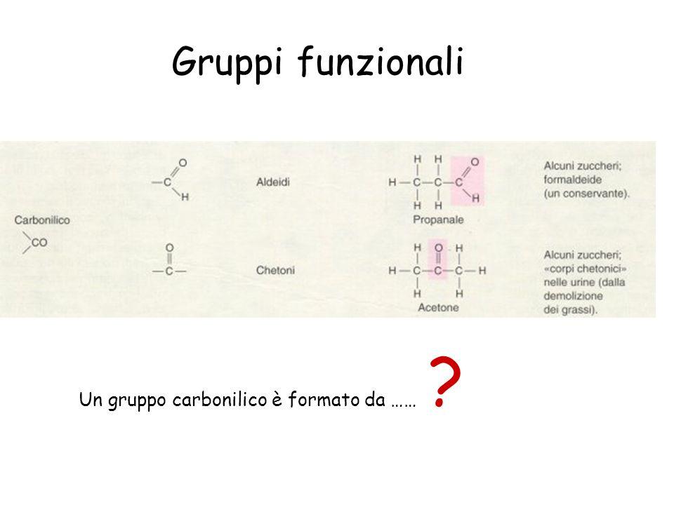 Gruppi funzionali Un gruppo carbonilico è formato da ……