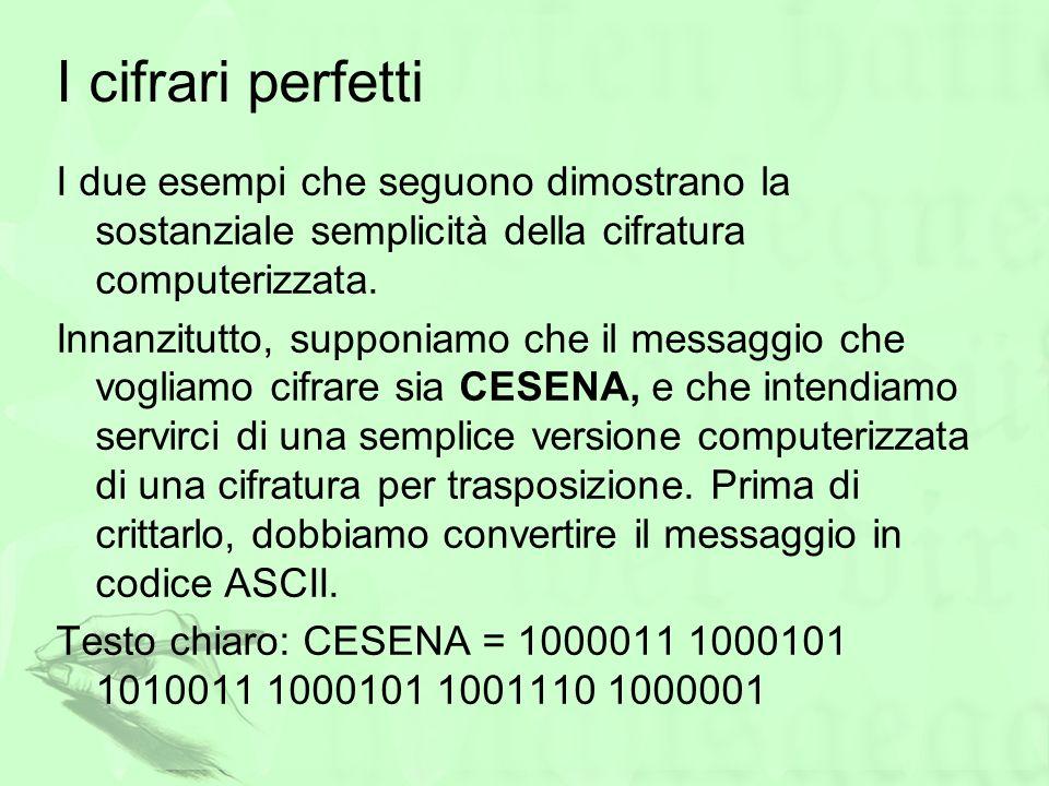 I cifrari perfetti I due esempi che seguono dimostrano la sostanziale semplicità della cifratura computerizzata.