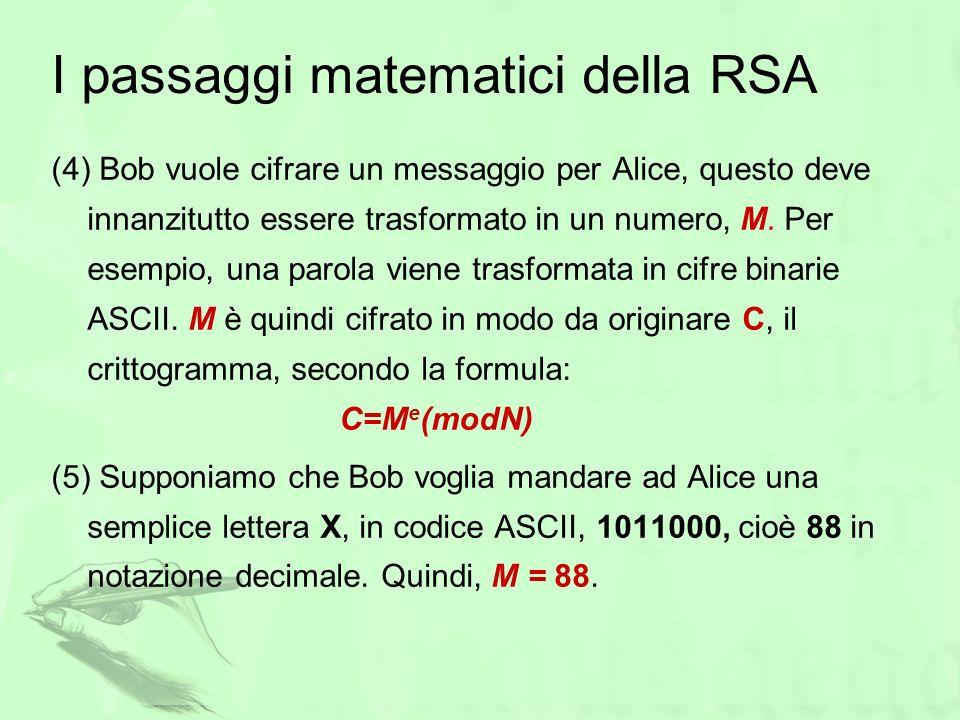 I passaggi matematici della RSA