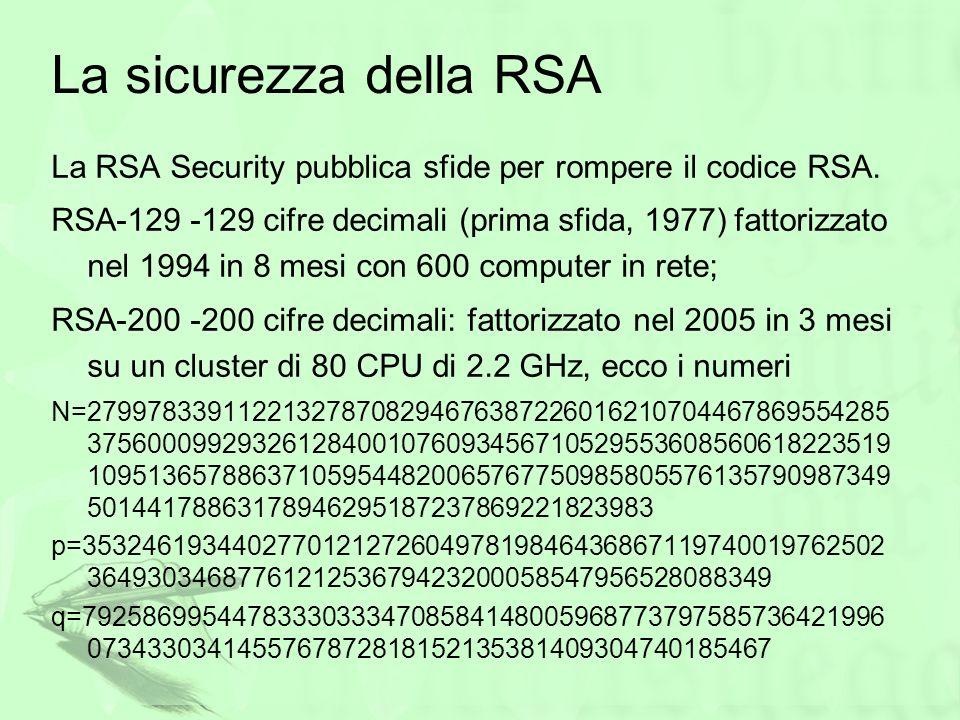 La sicurezza della RSALa RSA Security pubblica sfide per rompere il codice RSA.