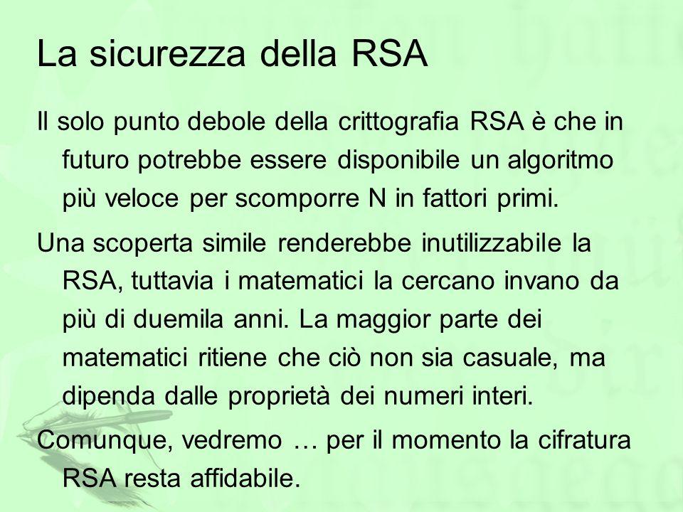 La sicurezza della RSA