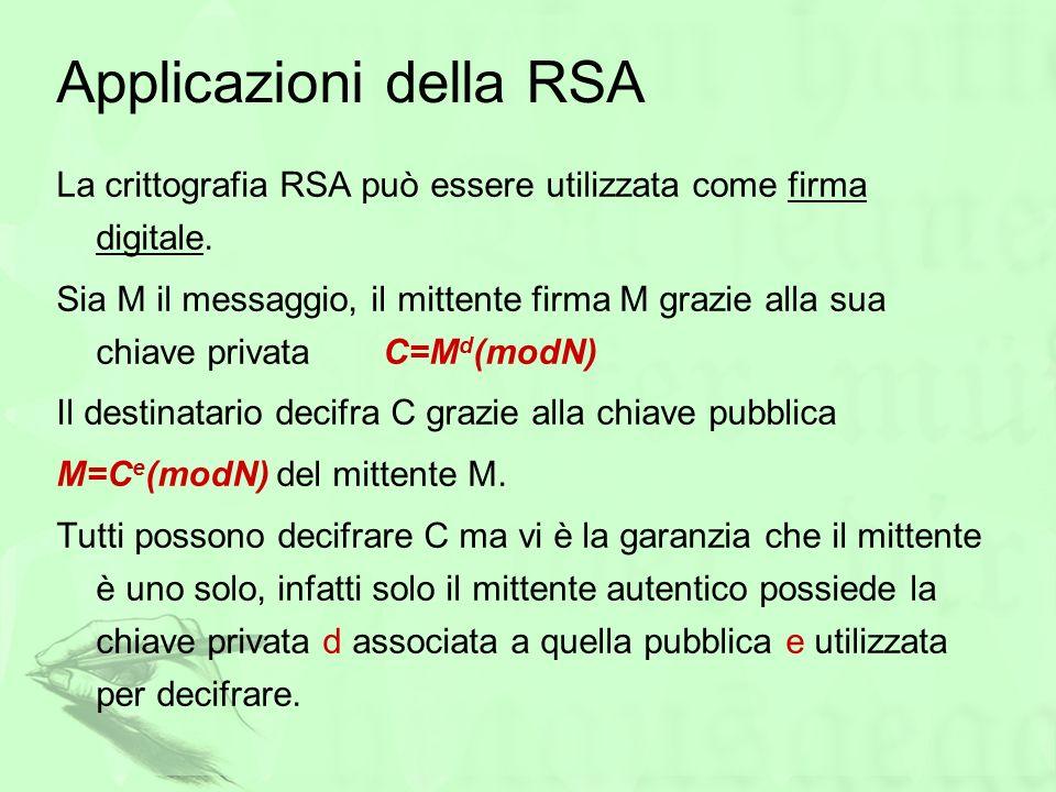 Applicazioni della RSA