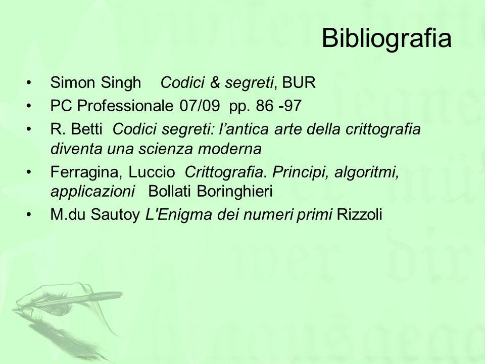 Bibliografia Simon Singh Codici & segreti, BUR