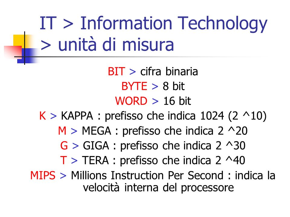 IT > Information Technology > unità di misura