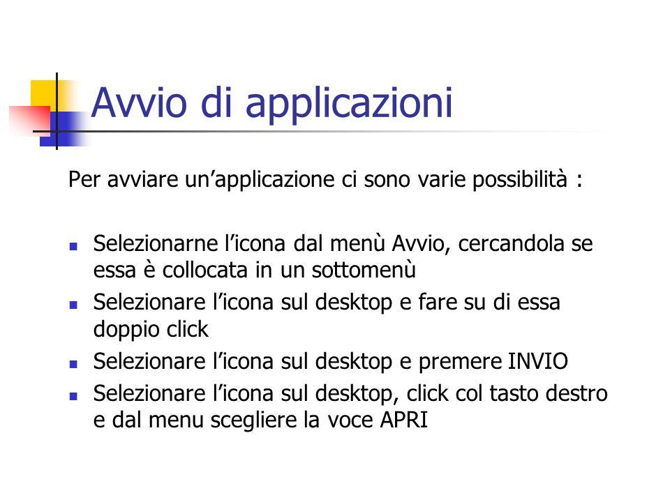 Avvio di applicazioni Per avviare un'applicazione ci sono varie possibilità :