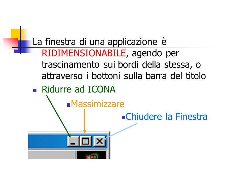 La finestra di una applicazione è RIDIMENSIONABILE, agendo per trascinamento sui bordi della stessa, o attraverso i bottoni sulla barra del titolo