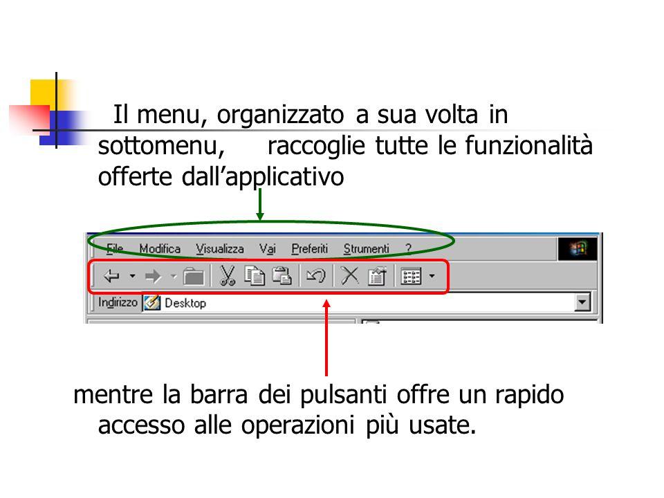Il menu, organizzato a sua volta in sottomenu, raccoglie tutte le funzionalità offerte dall'applicativo