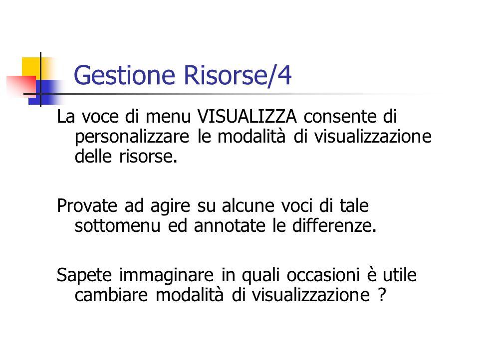 Gestione Risorse/4 La voce di menu VISUALIZZA consente di personalizzare le modalità di visualizzazione delle risorse.