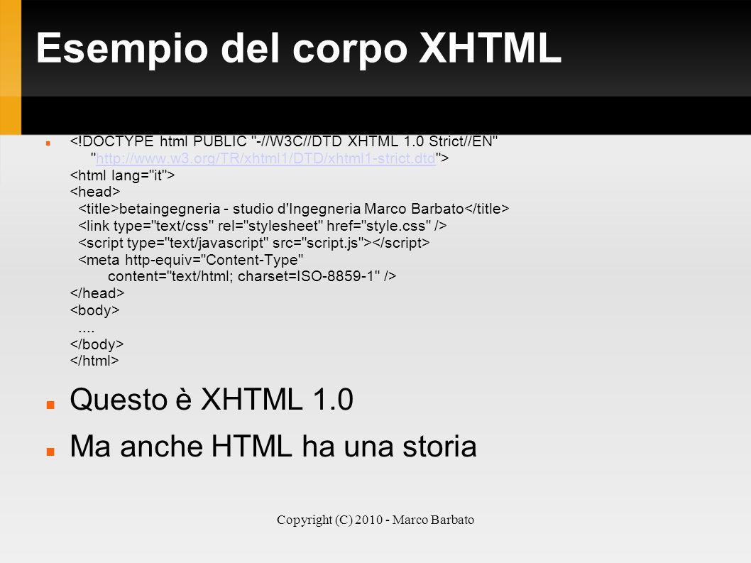 Esempio del corpo XHTML