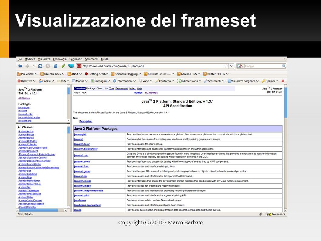 Visualizzazione del frameset
