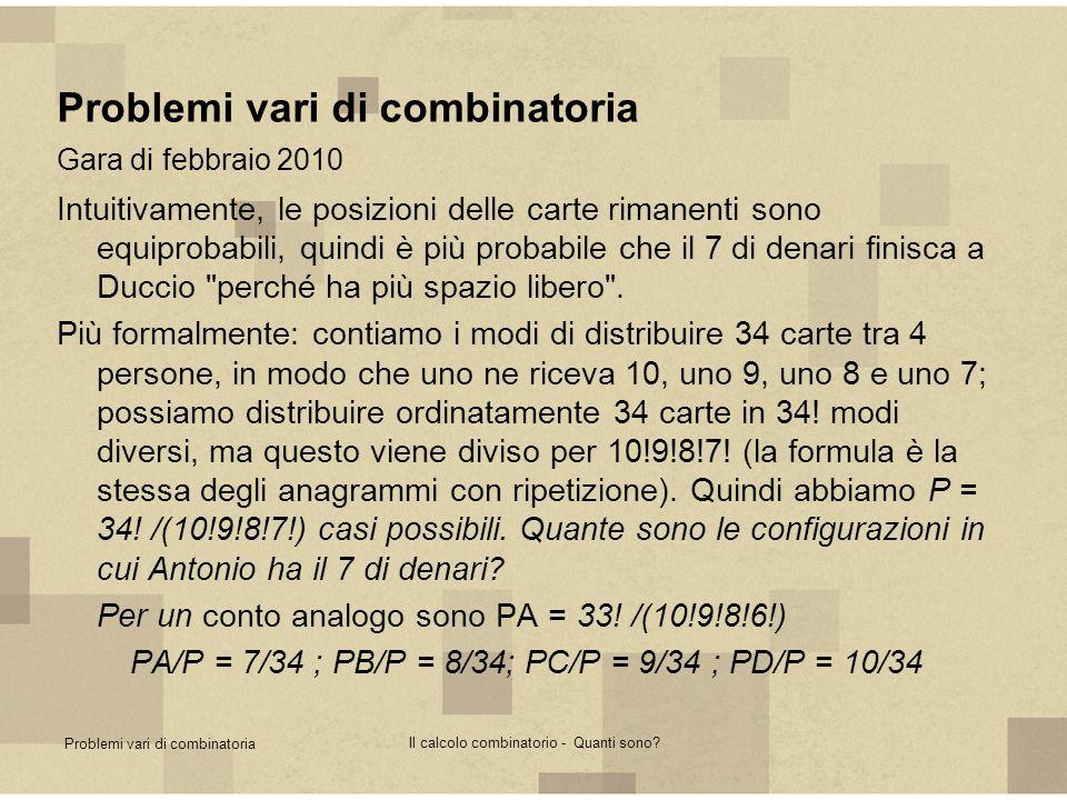 Problemi vari di combinatoria